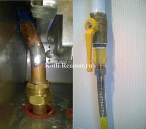 Запаянная трубка подачи от теплообменника и диэлектрик на газовую трубу