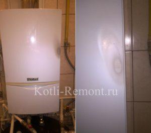 Выгоревшая краска на корпусе газового котла расположенного во влажном помещении