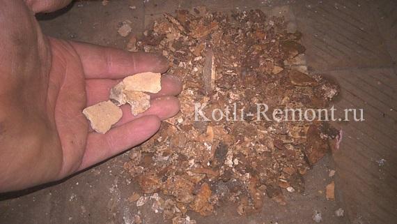 Отложения накипи из теплообменника котла